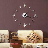 Acrylic ballet notes - Creative notes and ballet dancers wall clock fashion wall sticker art clock creative DIY wall clock hanging watch