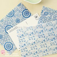 Wholesale pieces Chinese Blue and White Porcelain Retro Postcard Envelop Letter Pad Greeting Cards Translucent Envelopes