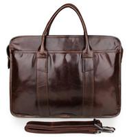 Wholesale Vintage genuine leather men s messenger bag men briefcase quot laptop shoulder bag