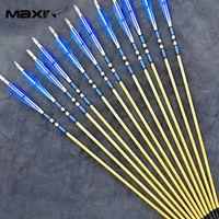 archery supply - Maxin X Traditional Handmade Wooden Arrow cm Archery Blue Feather Black Broadheads for Longbow Training Supplies