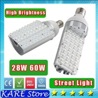 Cheap *2 LED Street Light E40 E27 28w 60W 7200lm AC85-265V 60*1W Led Street lighting Lamps Outdoor Waterproof Vertical Garden Road Street Lights
