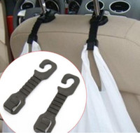 Wholesale Car hook Pair Car Back Seat Hooks Holder For Bag Purse Cloth Grocer Flexible Auto Hangers Fixed On Headrest Car Styling Accessories