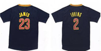 badminton t shirts - 2016 New Material Cheap Top Quaity Dark Blue Kyrie LeBron Men Short Sleeve Jerseys Stitched T Shirts Embroideried Name Number
