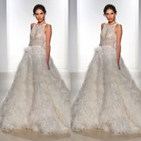 autumn kelly - ultra chic feather wedding dresses spring kelly faetanini major beading illusion bodice feather skirt bridal gowns