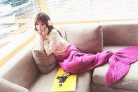 Wholesale 2016 knitted Mermaid Tail blanket kids and adult crochet mermaid blanket throw bed Wrap soft sleeping bag cm cm cm cm
