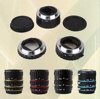 Wholesale 5 Colors Metal Mount Auto Focus AF Macro Extension Tube Ring for Canon EOS EF S Lens D D D D D D D T5i T4i