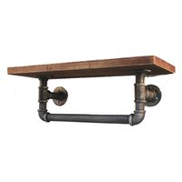 Wholesale Industrial Vintage Iron Pipe Metal Shelf With Towel Rack Industrial DIY Retro Wall Mount Iron Pipe Storage Bookcase