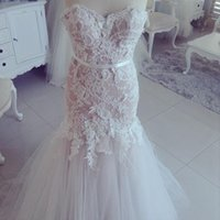 arrival details - New Arrival Luxury White Lace Applique Real Sample Mermaid Sweetheart Buttons Wedding Dresses Plus Size