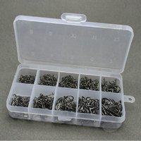 Wholesale 10 Sizes Total Black Fish Tools Hooks Tackles in Box for Lures Baits F00138 BARD