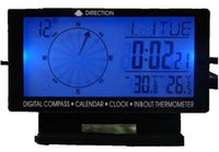 auto compass thermometer - 5in1 Digital Car Thermometer Blue Backlight Car Compass Inside Outside Thermometer Clock Calendar With Auto Cigarette Plug