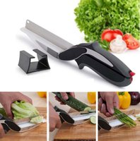 Wholesale 201609 Clever Cutter In Food Chopper Cutter Slicers Kitchen Knife Cutting Board Scissors Stainless Steel Kitchen Gadgets Tool L19