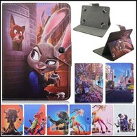 Wholesale Universal Cute Cartoon Zootopia Movie Design Judy Hopps Nick Wilde Chief Bogo PU Leather Case Cover for inch Tablets PC w Hook Stand