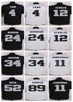 Wholesale Elite Raiders jerseys cheap rugby football jerseys Oakland COOPER MACK WOODSON CARR JACKSON LONG black white