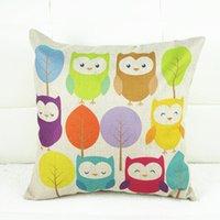 Wholesale 1x Vintage Composite Linen Pillow Case Sofa Cushion Cover Colorful Owls x42cm