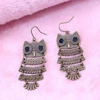 Wholesale Promotion Bohemian Retro Owl Earring Pendant Earring Factory Direct E097