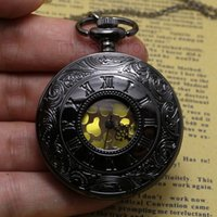 antique dial clocks - Watches Clocks Pocket Fob Watches Black Gray Roman Dial quartz Vine Antique Pocket Watch necklace watches with chain P413