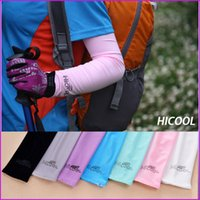 Cheap 38cm length Hicool Cool Golf Arm Sleeve Sun Protection UV Protector Summer Sports Cycling Arm Sleeve Arm Warmers 9 Colors with retail pack