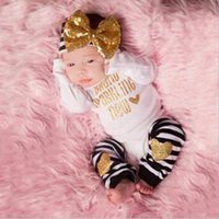 baby stripe legging - 3 Newborn Baby Kids Boy Girl Infant Long Sleeve Jumpsuit Bodysuit Bow Headband Stripe Leg warmer Clothes Outfit Set M