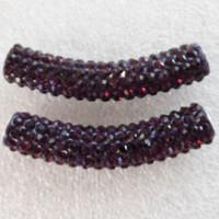 El Rhinestone cristalino curvado libre del tubo del envío 5Pcs 47x10m m pavimenta la joyería cabida púrpura de la joyería de Diy de los granos del conectador de la pulsera