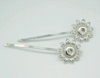 Wholesale New PJ0126 New Sunflower Hairpin Snap metal Hairpin fit mm DIY ginger snap buttons