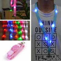 Wholesale 6 Color LED Nylon Neck Lanyard Strap Flashing Led Necklace ID Card Pendant Hanging Cord Rope For Men Women