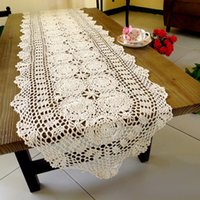 Wholesale Hot Sales Crochet Cotton Table Runner Chinese Style Hollow Out Handmade Cloth Coffee Table Runners Home Decor JM0208 smileseller2010