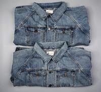 best jean brands - Best Quality Kanye West Fear Of God Light Blue Denim Jackets Mens Vintage Style Selvedge Jean Coats Designer Brand Clothing