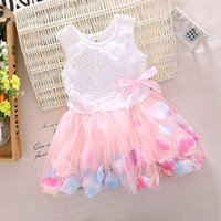 Wholesale New Design Cute Toddlers Baby Dresses with Rose Flower Tulle Bow A line Princess Girl Dress Summer Size In Stock
