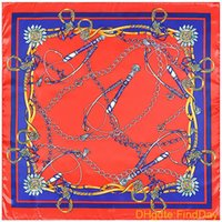 Cheap 90cm*90cm European H Style Metal Chain and Belt Whip Printed style women silk satin large square scarf