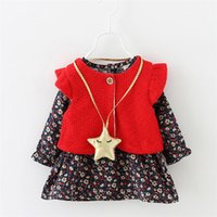 babies layette - Good quality colors baby girl layette boys Girls Dress fashion Clothing Sets kids autumn fall two pieces new with star necklace
