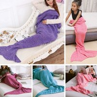 bags crochet - New Fashion Super Soft Winter Warm Warmer Hands Crocheted Mermaid Tail Home Portable Blanket Sofa Sleeping Bags EA01009