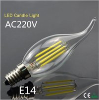 art lamp shade - 10Pcs Degree W W Retro Edison LED Filament Bulbs Candle light V E14 Glass Shade LED lamp COB Chandelier for Art lighting