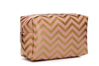 Wholesale Cosmetic Storage Waterproof PVC Makeup Tote Bag Toiletry Pouch with Brillant Chevron