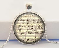 american sheet music - Hot Fashion Musical sheet necklace Music note necklace jewelry pendant Musician glass dome jewelry