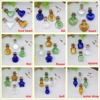 Wholesale 20pieces mix color figurate small glass bottle with cork glass vial pendant charms cork wishing bottles jewelry findings supply