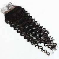 Wholesale 100 Indian Human Hair Lace Closure quot x4 quot inch Jerry Curly Bleach Knots Tangel Free Human Hair Lace Closure