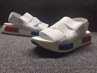 belt shoes - Summer NMD White Sandals Falts Outdoor Casual Sandal Light and comfortable Shoes NMD Elastic belt