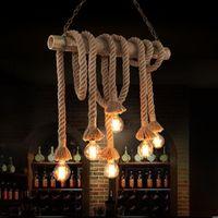 bamboo hanging lamp - Vintage Rope Bamboo Pendant Lights Loft Creative Personality DIY Industrial Pendant Lamps Bar Light Fixture Luminiare hanging lamp