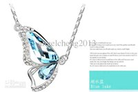 Wholesale High Quality Jewelry Necklaces Clear Rhinestone Colour Crystal Flying Butterflies pendant necklace mix order