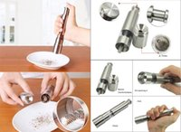 Wholesale High Quality Silvery Thumb Push Salt Stainless Steel Pepper Grinder Spice Sauce Mills Grind Stick Tool Kitchen Gadgets dhl free