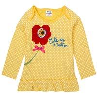achat en gros de shirt point jaune-New Arrival Undertint Yellow Autumn Or Spring Girls T-shirt enfant Blanc Dot à manches longues