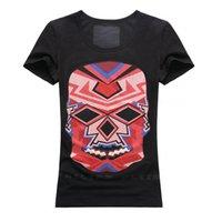 Wholesale 2016 Cool Women Fashion Stone Skull T Shirts Short Sleeve Tee Shirts White Black Size S M L XL