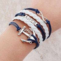 best foods for men - Vintage Braided Anchors braceletes best friends Leather Bracelets men jewelry heart charm Bracelets for women pulseira masculina