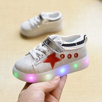 baby on line - 2016 Baby Girls Boys LED Light Sneakers LED Colors Children Fashion USB Charging Sneakers Kids Flashing Lights Shoes No charging line