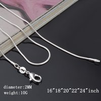 Wholesale 120pcs Pendant Chain Sterling Silver Smooth Snake Chain Necklace Lobster Clasps Chain Size mm inch inch