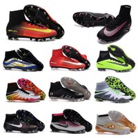 Wholesale TOP quality mens cleats high ankle football boots MaGISta FG ACC HERITAGE soccer shoes CR7 NJR MercURIal SupERfly V hypervenom phantom II