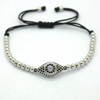bead connectors links - Hot fashion Men Rose Gold Bracelets Pave Setting Black CZ Evil Eye Connector mm Round Beads Braiding Fashion Men women Bracelet