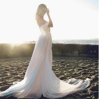 Wholesale Custom Flowing - Summer Style Backless Beach Wedding Dresses Flowing Elegant Boho Bridal Dresses A Line Vintage Greek Goddess Wedding Gown