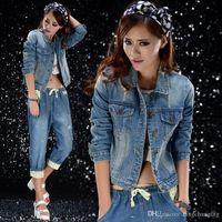 Wholesale New Women s Fashion Slim Patchwork Denim Jackets Classical Outwear Jeans Coat Jackets New Hot Sale
