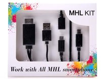 Wholesale MHL To HDMI Adapter Kit Feet M Micro USB to HDMI Cable p HDTV Push from Smartphone to TV Multi Control Wiplug Cable Converter